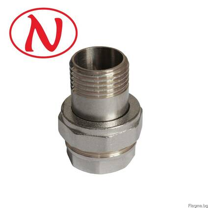 """Brass Straight connector 1/2"""" (Nikel) /HS"""